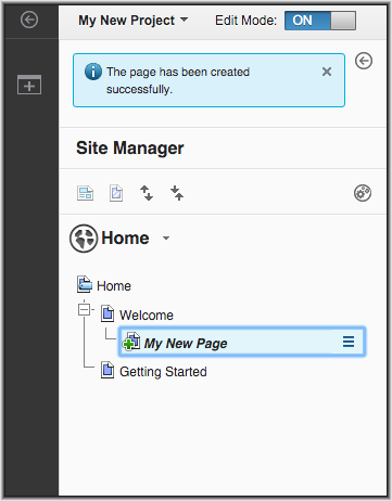 This screen capture shows the new page in the Site Manager tree view.